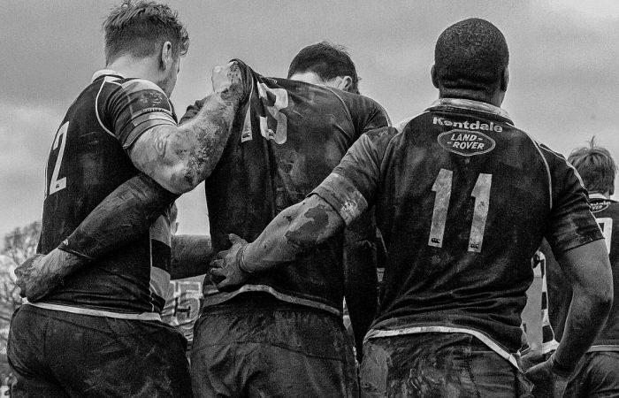 Män rugby svartvit
